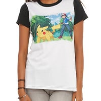 POKEMON ASH & PIKACHU GIRLS T-SHIRT