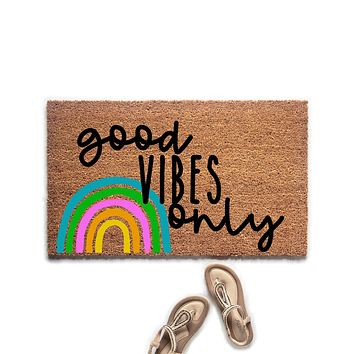 Good Vibes Only Rainbow Doormat