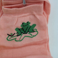 Adorable Vintage Socks - Frog Pattern- pastel -Novelty Stockings -Retro Kitsch - womens accessories -stocking filler - gift - frogs