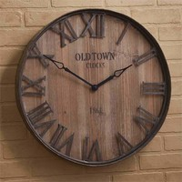 Old Town Galvanized Wood Wall Clock