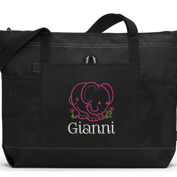 Baby Elephant Personalized Zippered Diaper Tote Bag