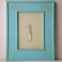 Seahorse Art Print Light Tan and Maroon 5x7 by WhitSpeaks on Etsy