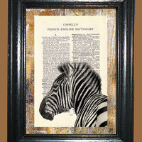 African Zebra - - French - English Vintage Dictionary Book Page Art-Upcycled Page Art,Collage Wall Art,Mixed Media Art