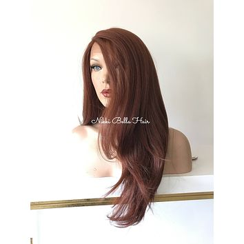 Dark Red Premium' Silk  Human Hair Blend Multi Parting Lace Front Wig - Fiona