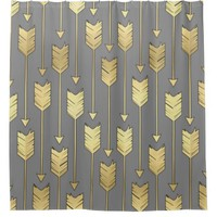 Grey and Gold Boho Arrow Pattern Shower Curtain