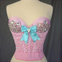 The French Sugar Lace and Satin Bustier with AB Rhinestones in Pink Made to Order