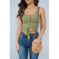 Counting On You Crop Top (Moss Olive)