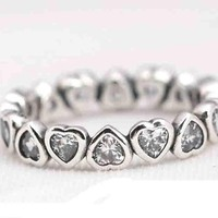 2017 high quality new arrive wedding engagement european brand heart eternity silver stack ring 925 sterling silver