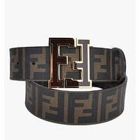 FENDI Woman Men Fashion Smooth Buckle Belt Leather Belt-12