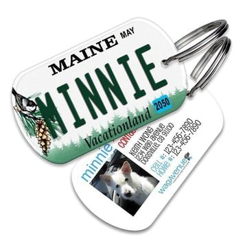 Maine License Plate Pet Tag