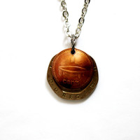 Domed Coin Necklace Layered Coins United Kingdom Great Britain 20 Pence 1982 Fiji 1 Penny 2006 Repurposed Eco-Friendly Jewelry by Hendywood