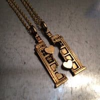 Phone Booth Gold Plated Double Heart Friendship Necklace and Bracelet Set, Friendship, Holiday Gift