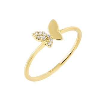 CZ X Solid Butterfly Ring