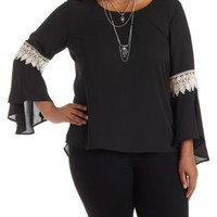 Plus Size Black Combo Crochet-Trim Bell Sleeve Top by Charlotte Russe