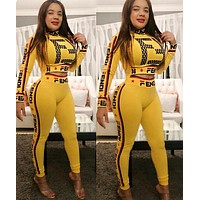 FENDI Newest Fashionable Women Sexy Print High Collar Top Pants Set Two-Piece Sportswear Yellow