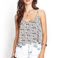 FOREVER 21 Ditsy Floral Strappy Cami Taupe/Black Large