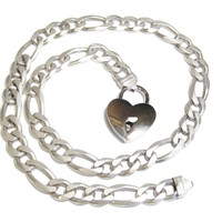 Heavy Italian Sterling Figaro Chain Necklace Heart Padlock Pendant