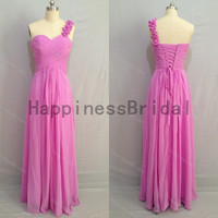 One-shoulder chiffon dress with flowers,fashion prom dresses,hot sales dresses,bridesmaid dress,chiffon prom dress,formal evening dress 2014