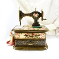 English roses Sewing Machine - sewing chest of drawers, sewing box ,Box for needlework , gift for mom ,seamstress gifts , rustic box,