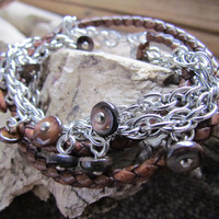 Braided Leather Wrap Bracelet Distressed Brown Rustic with Beautiful Abalone Buttons strung on a chain, Oxidized Sterling Silver S Clasp