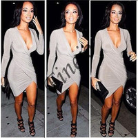 New Women's Super Sexy Long Sleeve Deep-V Neck Ladies Party Evening Pencil Dress SV006311