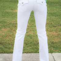 5 pkt White Denim Jeans with white thread and back patch (Size 5 & 7)