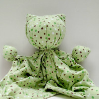 """Kitty Doll - Soft Kitty - Soothing Toy - Lovey Doll - Baby  Kitten - Unique Baby Gift - Sleepy Time Doll - 100% Cotton Flannel - 11-12"""" tall"""