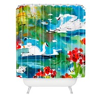 Ginette Fine Art Summer Swans Shower Curtain