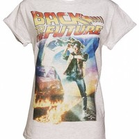 Ladies Back To the Future Movie Poster Rolled Sleeve Boyfriend T-Shirt : TruffleShuffle.com