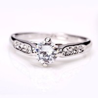 Fashion Plaza Women's Cubic Zirconia Engagement Ring R21 Size 7