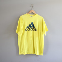 Vintage 90s Adidas T-shirt Trefoil Big Logo Yellow Cotton Tee Made in USA Baggy Slouchy Oversize hipster 90s Size L