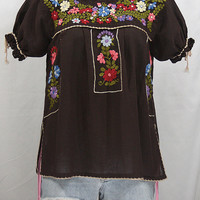 """Hand Embroidered Mexican Peasant Blouse Puff Sleeve: """"La Antiguita"""" in Dark Brown"""