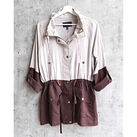 Lightweight Linen Color Block Jacket in Khaki/Cacao