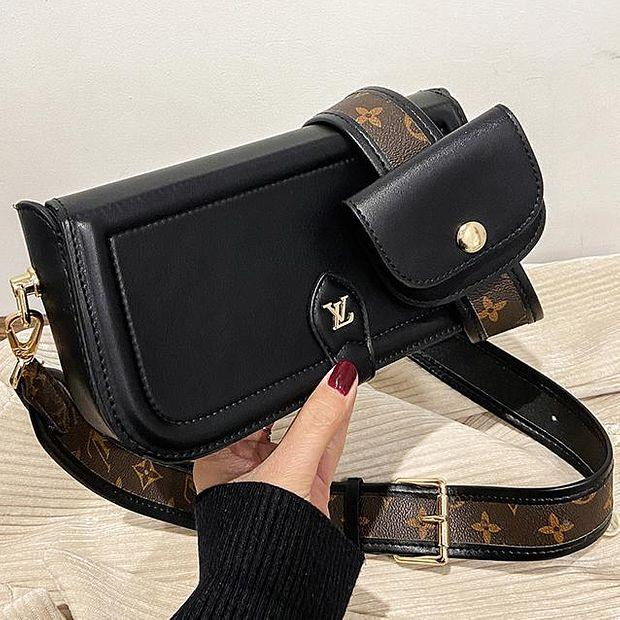 Image of LV Louis Vuitton New Products Women's Black Two-piece Crossbody Bag Shoulder Bag Shopping Bag