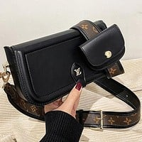 LV Louis Vuitton New Products Women's Black Two-piece Crossbody Bag Shoulder Bag Shopping Bag