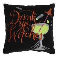 Halloween Drink Up Witches Throw Pillow (Black)