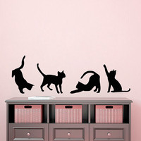 4 Cat Wall Decal Pet Shop Vinyl Stikers Baby Kitten Decal Art Mural Home Dorm Play Room Design Interior Living Room Animal Decor KY7