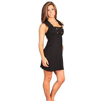 Voom Petra Collar Babydoll Dress in Black