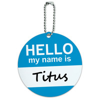 Titus Hello My Name Is Round ID Card Luggage Tag