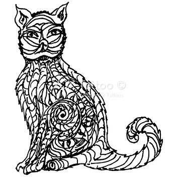 Paisley Cat Waterproof Temporary Tattoos Lasts 3 to 4 days Choose Small, Medium or Large Sizes
