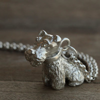 Handmade 3D Silver Schnauzer Dog Pendant, Silver Lovely Dog Pendant, Valentine's day, Anniversary, Birthday, Wedding, Christmas, Gift