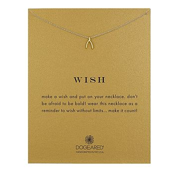 """Dogeared - Reminder Wish Teendy Wishbone Necklace 16"""" Gold Dipped"""
