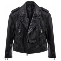 Moto Crop Leather Jacket in Black | Linea Pelle