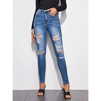 Slant Pocket Ripped Skinny Jeans