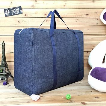 Denim Big Move With Thick Canvas Bag Bag, Oxford Cloth Packing Bag Air Carrier Bag