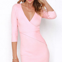 Warm Up and Up Peach Long Sleeve Sweater Dress