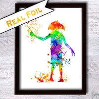 Harry Potter Dobby real foil poster Harry Potter gold foil print Harry Potter wall decor Home decoration Kids room wall decor Gift idea G104