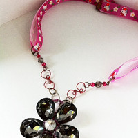 large black crystal flower pendant with pink Hello Kitty ribbon necklace valentines day gifts