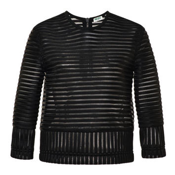 Kenzo Paneled Striped Pullover Black