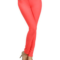 Coral Red Front And Back Pocket Jeggings